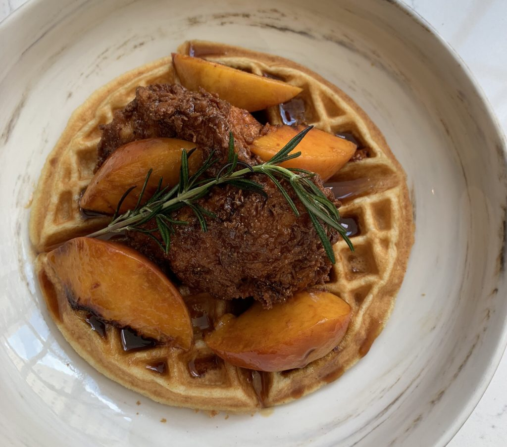 Deacon's chicken and waffles with Peach Truck peaches