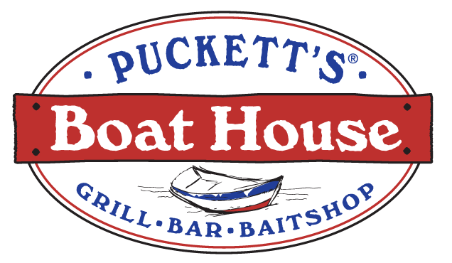 Puckett's Boat House oval logo with red, blue and black accents. There is a rough sketch of a boat in the middle of the logo.
