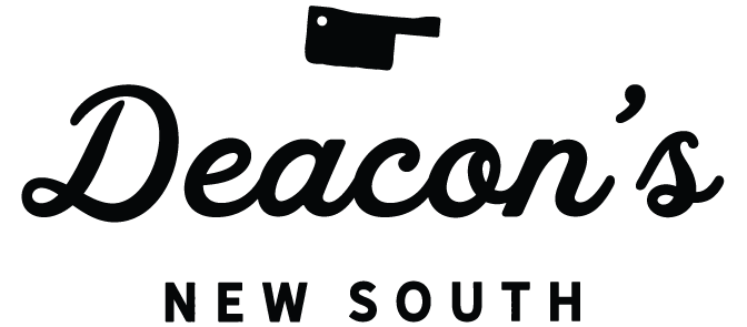 Deacon's New South logo, which features Deacon's written in script with New South in block letters. It is all in black and there is butcher knife at the very top above of Deacon's.