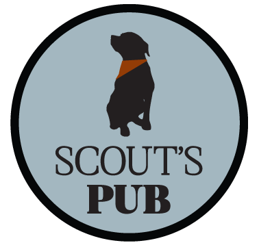 Scout's Pub circle logo with muted blue, red and black accents. There is  silhouette of Scout, the rottweiler dog that is the namesake of the restaurant, with a red bandana.